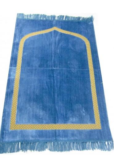 Plain Prayer Mat with Gold Border: Light Blue