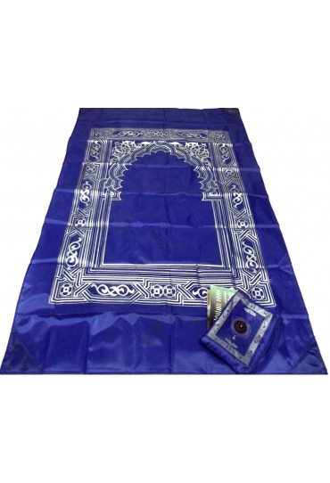 Pocket Travel Prayer Mat with Compass; Blue