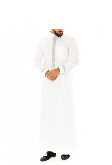 White Retro Thobe | Jubbah