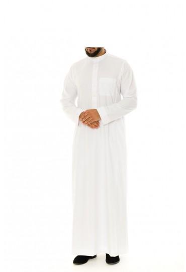 Saudi Collar Thobe White