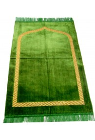 Plain Prayer Mat with Gold Border: Green