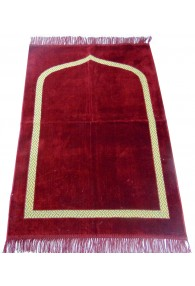 Plain Prayer Mat with Gold Border: Maroon