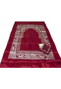 Pocket Travel Prayer Mat with Compass Red