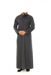 Saudi Collar Thobe | Jubbah Charcoal